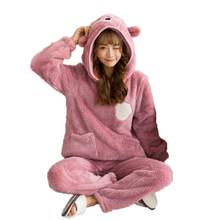 Winter Sweet Cartoon Long-sleeved Coral Velvet Pajamas Set Girl Cute Bear Ears Hooded Home Clothes