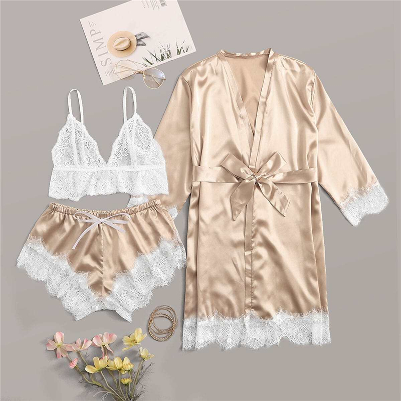 COLROVIE Gold Floral Lace Satin Lingerie Set With Robe Women Bralettes Belted Pajamas 2019 Autumn Sexy Sets Female Sleepwear