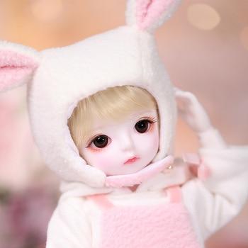 Fullset, preciosa muñeca, crema para chicas, sd bjd 1/6, muñeca de juguete, 26cm, cuerpo de resina con ropa de conejo de peluche, peluca, zapatos, maquillaje para regalo de niños