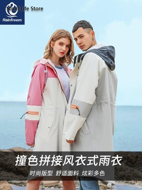 Waterproof Long Rain Coat Women Pink Trench Raincoat Long Outdoor Jacket Cover Rain Poncho Hiking Adult Gabardina Mujer Gift