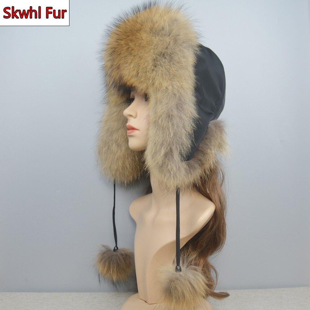 Winter Fox Fur Warm Windproof Hat Women Cap Bomber Lady Hat Real Fox Fur Ear Flap Cap Ski Trooper Trapper Cold Anti-snow Cap