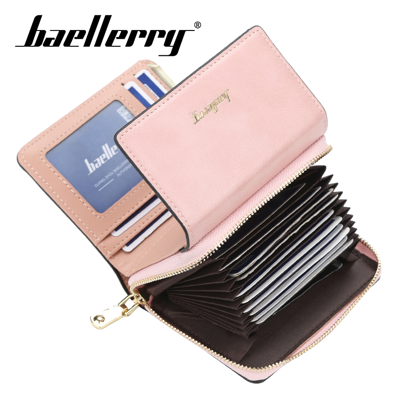 Baellerry Wallet Women Fashion Short Solid Wallet PU Leather Zippper Hasp Porta Handbag Card Holder Note Compartment Wallet Bag in Wallets from Luggage Bags