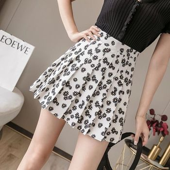 2020 summer new woman skirts skirt small daisy ultra short floral A-line skirt college style pleated skirt 2020 new mosaic chiffon pleated skirt contrasting color academic pleated skirt short skirt goth fashion a line above knee