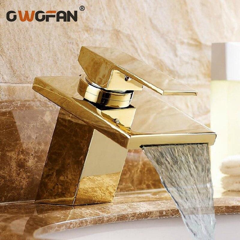 Salle de bains de luxe cascade carré bassin robinet pont monté grue en laiton massif plaqué or chaud et froid mitigeur évier robinet LT-501-1