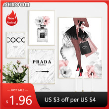 Fashion Canvas Art Print Perfume Bottle Wall Art Painting Flower Marble Posters Vogue Wall Pictures Trendy Girl Room Decoration