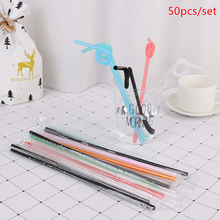 50pcs/Bag Disposable Plastic Thick Straws Bendable Juice Drinking Flexible 26cm Safe For Home Party Bar Drop shipping