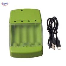 KLW cargador de batería inteligente, 4 vías, USB, AA, AAA, AAAA, Nicd, Nimh, 10440, 14500, con indicador LED