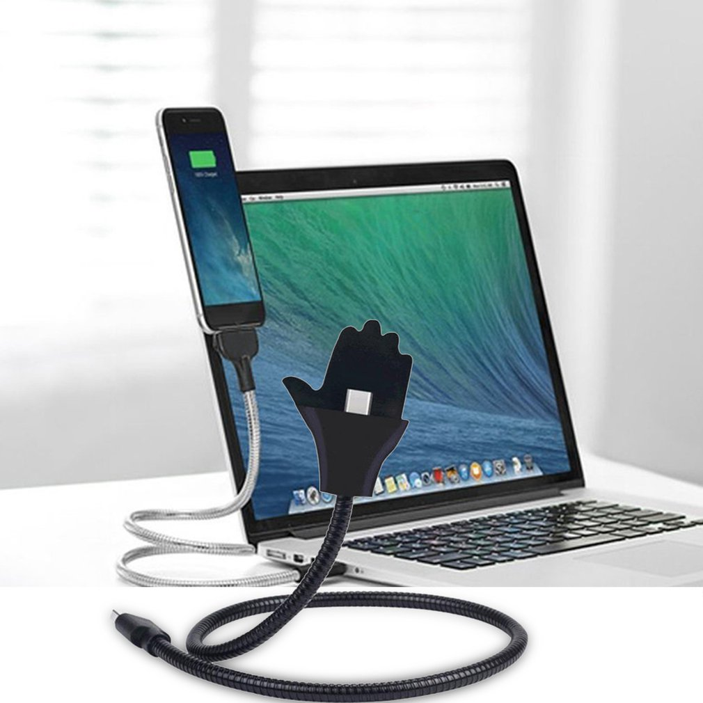 Lazy Bracket Data Cable For iPhone for Android Type-C Hose Metal Stand Up Cable for Mobile Phone Hands-free Fast Charging Cable 1