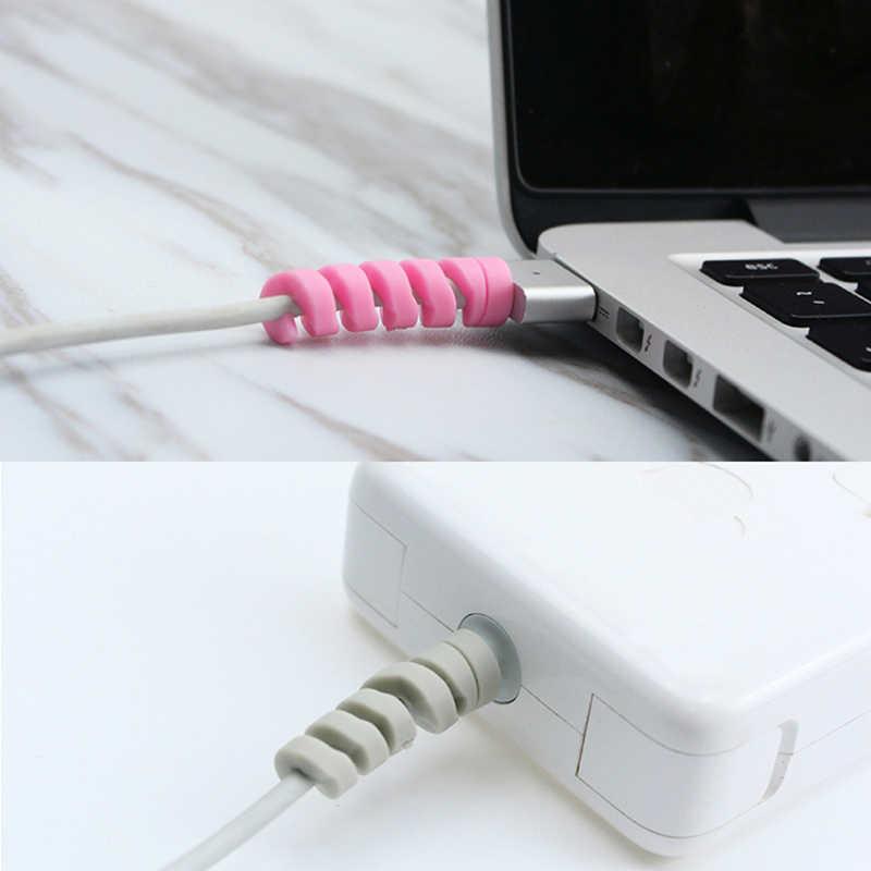 Cable USB auriculares cubierta 1/2/4/10 Uds. Cable de carga de plástico Protector para iPhone 8 X cargador USB