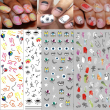 1 Pcs Abstract Line Pattern Eye Design 3D Nail Sticker Nail Slider Art DIY Decorations Sticker for Manicure DIY Adhesive Tips