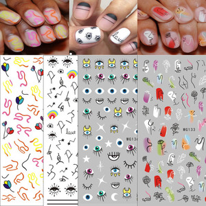 Image 1 - 1 Pcs Abstract Line Pattern Eye Design 3D Nail Sticker Nail Slider Art DIY Decorations Sticker for Manicure DIY Adhesive Tips