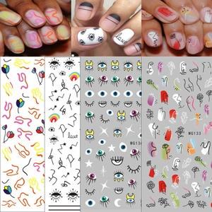 1 шт. абстрактная линия шаблон глаз дизайн 3D наклейка для ногтей слайдер для ногтей Наклейка для маникюра DIY клейкие наконечники