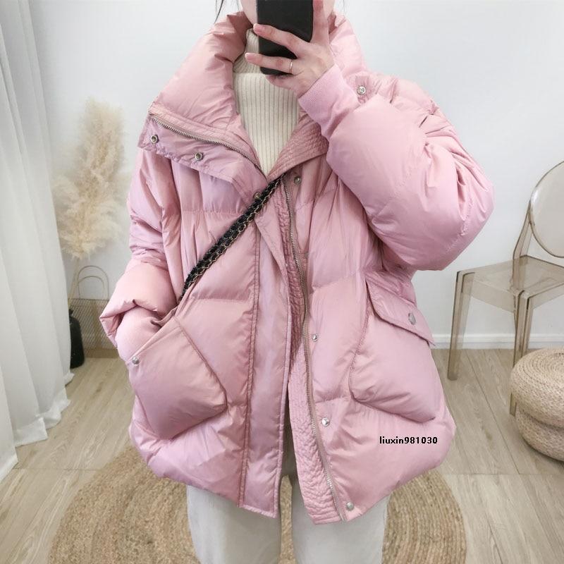 2020 novo inverno casual mulheres parkas casaco preto rosa branco verde manga longa cor solida grosso