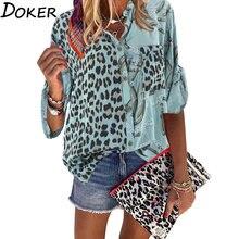 Женская блузка 2020 весенние топы с отложным воротником длинным