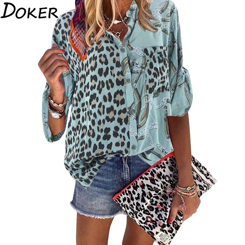 Women Blouse 2020 Sping Tops Turn-down Collar Long Sleeve Leopard Shirt Loose Plus Size Clothing For Women Ladies Blouses(China)