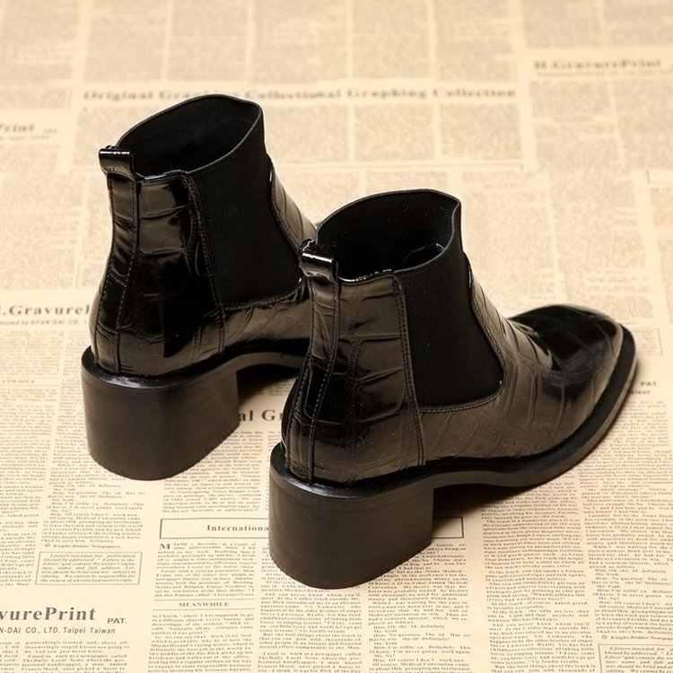 LYXLYH Giày Bốt Nữ Shinning Da Vuông Mũi Thun Trơn Trượt Trên Med Gót Boot Ngắn Cổ Chân Chelsea Boot Chun Giày
