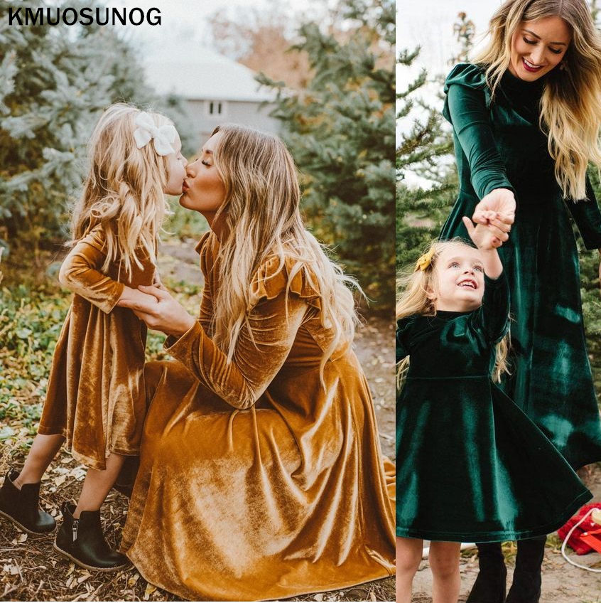 Autumn Mom And Daughter Dress Solid Long Sleeve Mother Daughter Dresses Family Matching Outfits Look Mommy And Me Clothes C0527