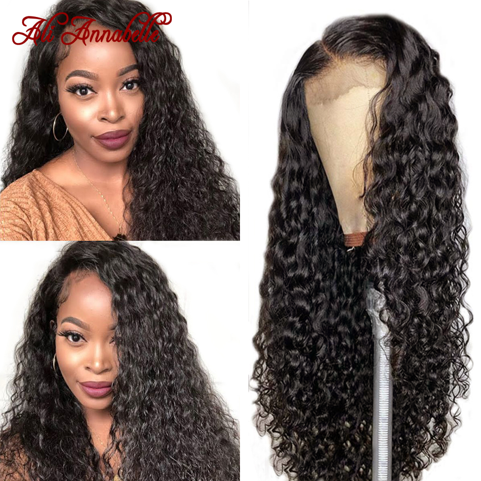 Onda de água brasileira laço frente perucas de cabelo humano para as mulheres preplucked linha fina 13x6 água encaracolado peruca dianteira do laço ali annabelle perucas