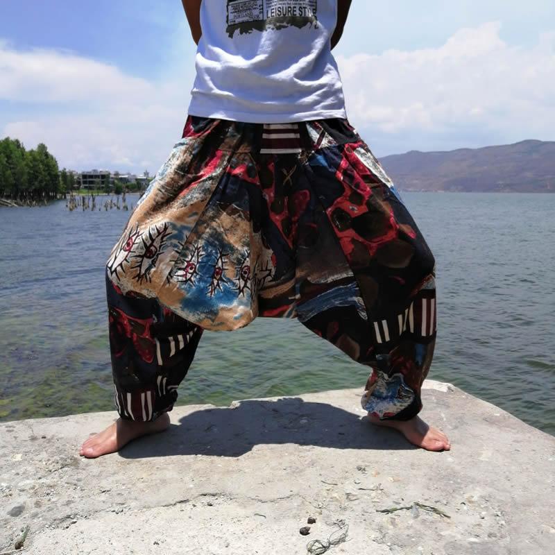 Women Boho Harem Pants Loose Oversized Cotton Linen Streetwear Hip Hop Dance Trousers Ethnic Print Hippie Pants