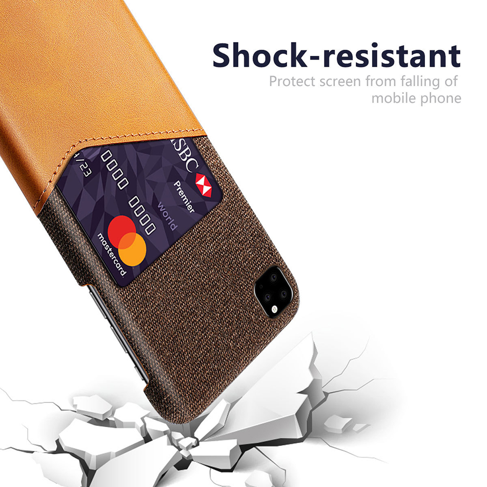 !ACCEZZ Fabric Phone Case For iPhone 11 Pro Max Case Protection Back With Card Pocket Anti-slip Shell Cover Business Coque Capa (3)