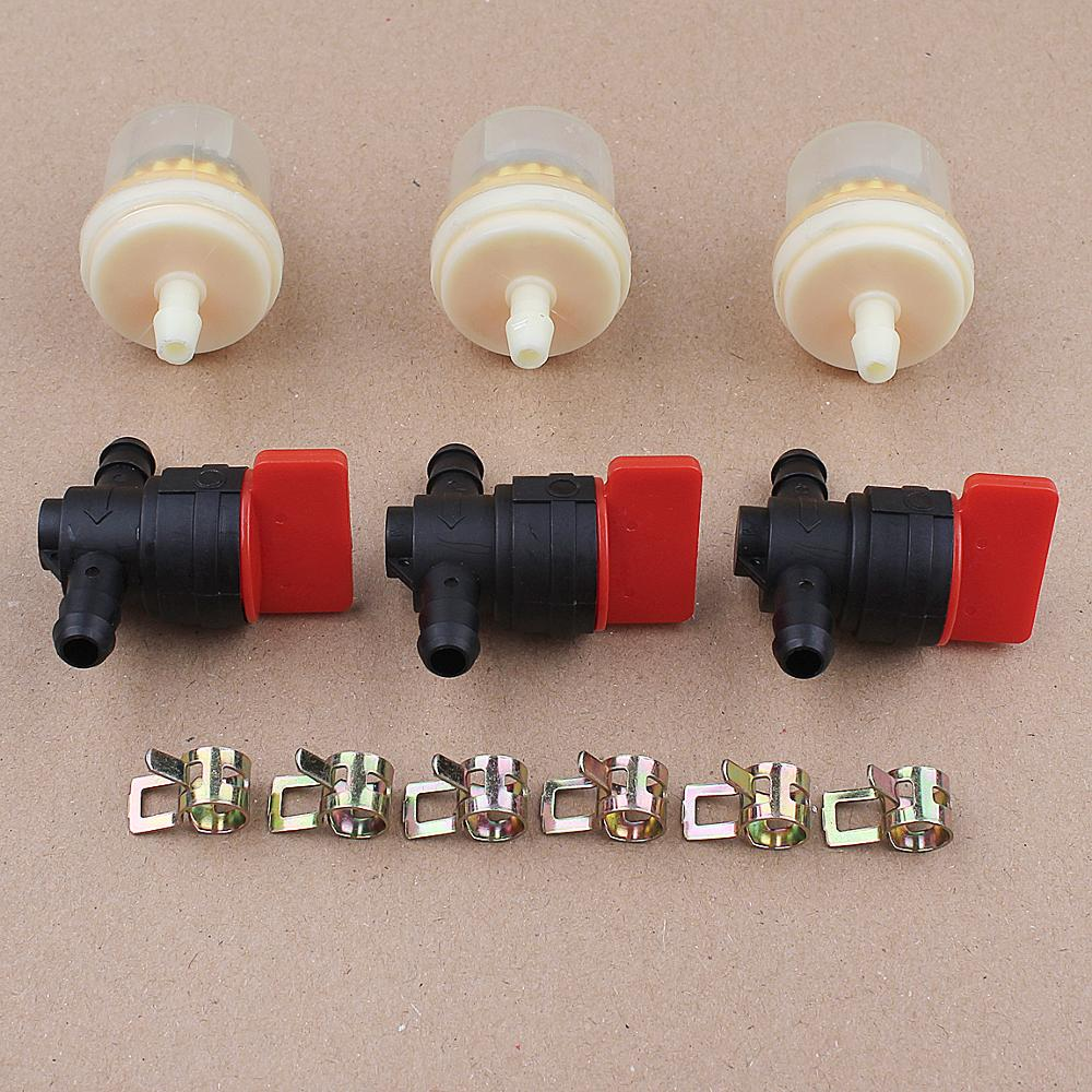 """3 Kit 1//4/"""" In Line Fuel Gas Filter Shut Cut Off Valve Clamp For Briggs Stratton"""