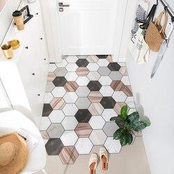 Washable waterproof PU leather door mat  kitchen oilproof floormat bathroom non-slip carpet DIY Doorway wooden rug custom made