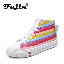 Fujin Rainbow Canvas Shoes Female Coloured Dropshipping Korean Version High Upper Fashion Breathable Lace Women