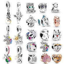 2Pcs/Lot Cute Tree Men Hedgehog Mermaid Charm Pendant fit Pandora Bracelets Necklaces for Women Jewelry Making Accessories Gift(China)