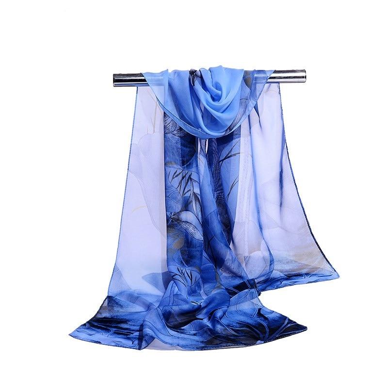 160*50cm Fashion Print Simulation Silk Chiffon Striped Scarf Wild Fashion Shawl Sunscreen Flower Floral Scarf Scarves