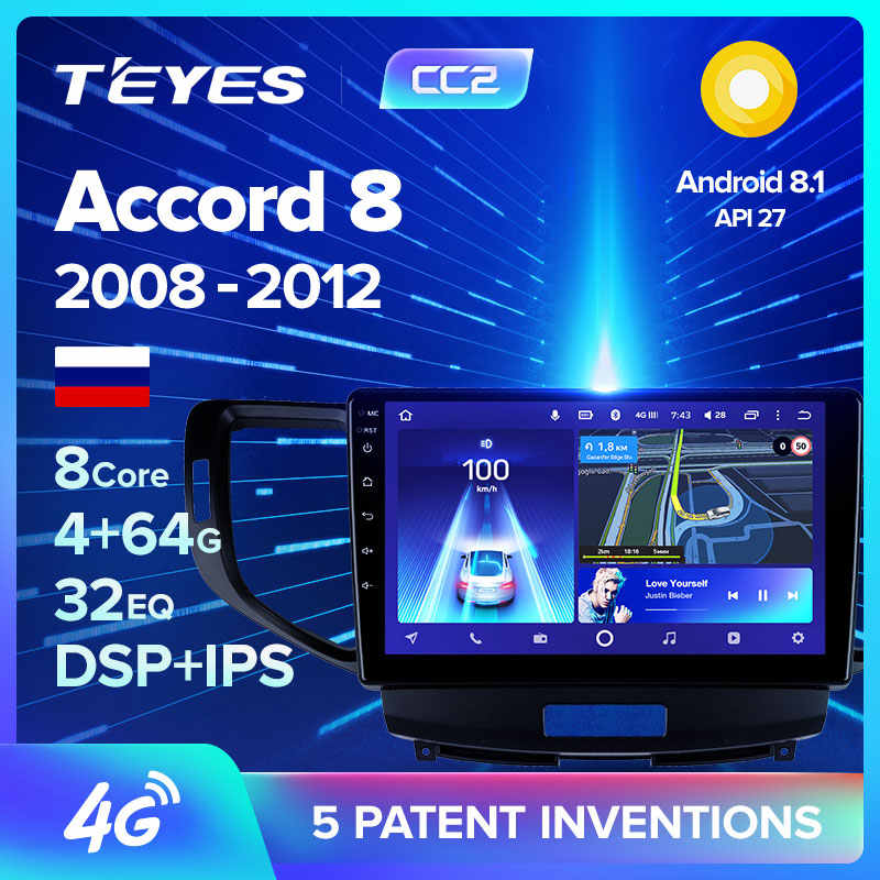 Teyes CC2 Voor Honda Accord 8 2008 2009 2010 2012 Auto Radio Multimedia Video Player Navigatie Gps Android 8.1 Geen 2din 2 Din Dvd