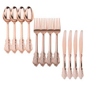 Image 2 - Yüksek kaliteli 12 adet tek kullanımlık plastik çatal kaşık bıçak düğün ev dekorasyonu hediye gül altın