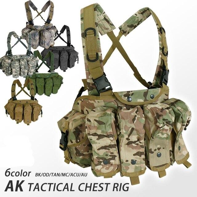 CQC AK الصدر تلاعب مول التكتيكية سترة معدات الجيش العسكرية AK 47 مجلة الحقيبة في الهواء الطلق Airsoft الألوان سترة صيد