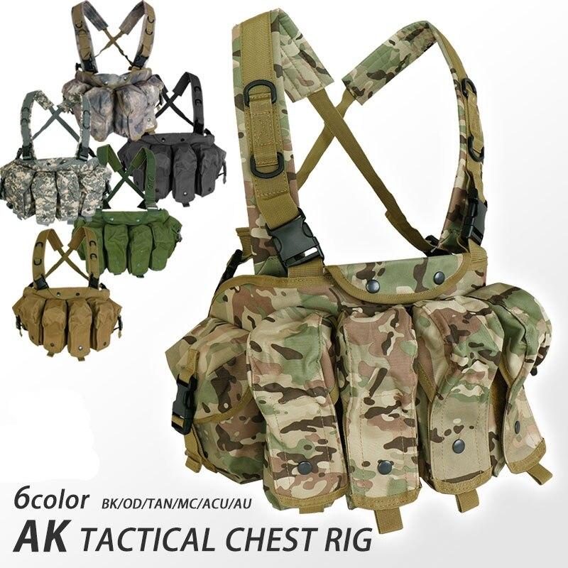 LUOSI Gilet Tattico Petto AK Equipaggiamento Militare Esercito AK 47 Tasca Portariviste Gilet da Caccia for Paintball Allaperto for Softair Color : OD, Size : One Size
