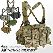Cqc akチェストリグmolleタクティカルベスト軍事軍機器ak 47 マガジンポーチ屋外エアガンペイントボール狩猟ベスト