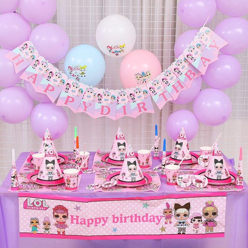 LOL überraschung puppen Geburtstag Party thema Dekoration Liefert Urlaub Tasse Platte Löffel Kuchen Stehen Aktivität Ereignis Kinder Geschenke