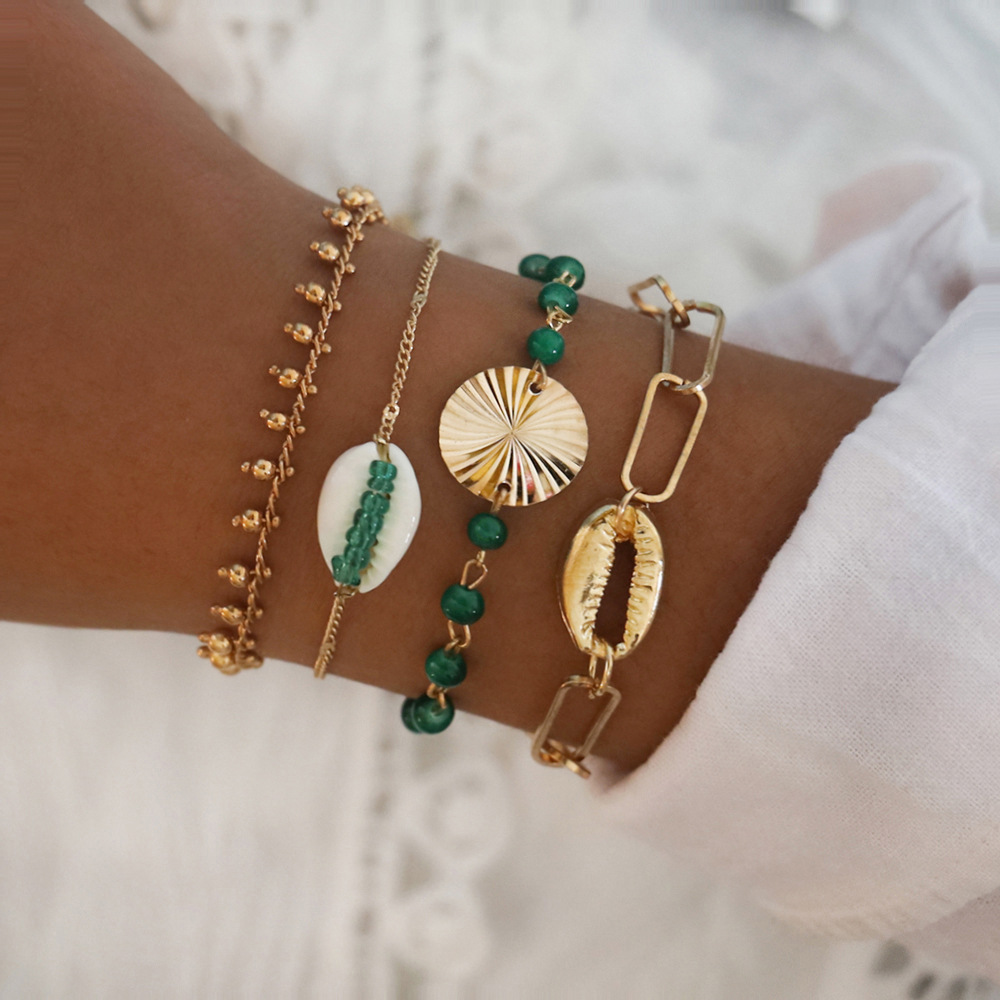 CHENFAN European style metal texture natural shell exaggerated geometric Bracelet for women personality green hand beaded