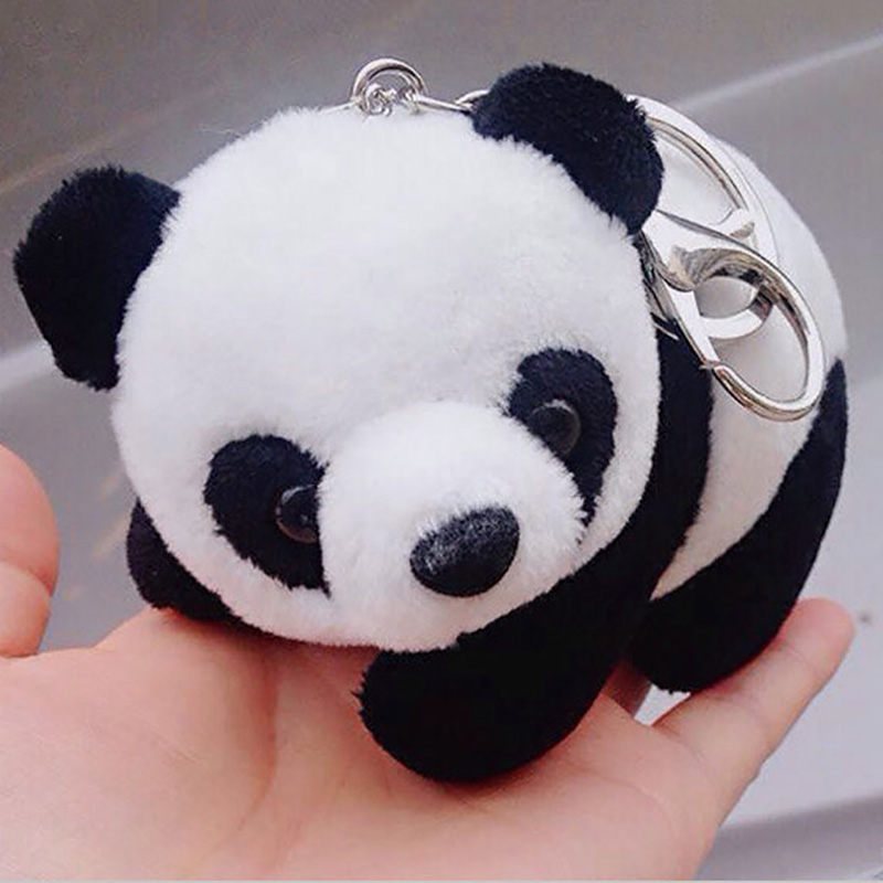 New Cartoon Plush Cute Panda Keychain For Gifts Backpacks Key Chains Key Ring Men Women Charm Bag Pendant Birthday Gift