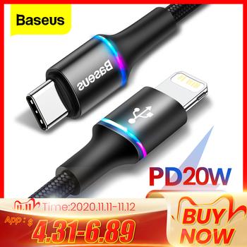 Baseus 20W PD szybki kabel ładujący do iPhone 12 11 Pro Xs Max X 8 6 USB typ C do kabla oświetleniowego do ipada przewód do transmisji danych przewód ładowarki tanie i dobre opinie LIGHTNING 2 4A CN (pochodzenie) NYLON TYPE-C Złącze ze stopu Cable Type C Loaded Fast Quick Charge Phone Charging Cable Protective Cable Charging