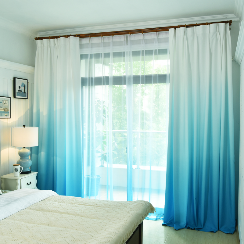 Blue Gradient Color Curtains For Bedroom Living Room Modern  Blackout Curtains Treatment Blinds Voile Custom Made Curtains