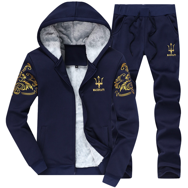 Winter Casual Hooded Sports Plus Velvet Men Hoodie Suit Thick Warm Maserati-