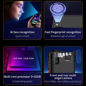 Image 4 - Nhỏ Mini Chống Sốc Điện Thoại Di Động NFC SOS Máy Bộ Đàm 3GB + 32GB 4G Chắc Chắn Điện Thoại Thông Minh Android Vân Tay mặt ID ĐTDĐ