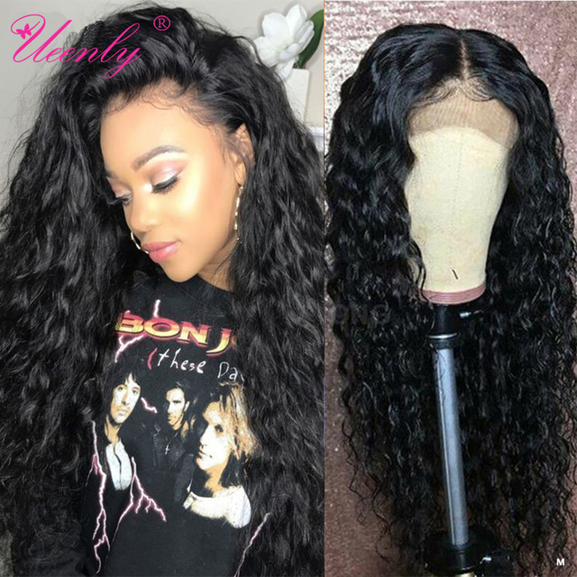 $ US $47.04 4x4 Closure Wig Brazilian Water Wave Lace Front Human Hair Wigs Pre Plucked With Baby Hair UEENLY Remy Hair Lace Closure Wigs
