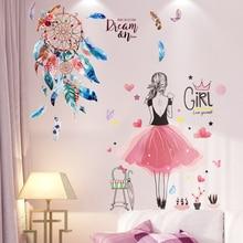 [shijuekongjian] Cartoon Girl Wall Stickers DIY Dreamcatcher Feathers Mural Decals for Kids Rooms Baby Bedroom House Decoration