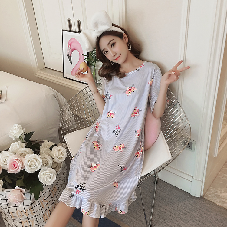 Leopard Short Sleeve Long Nightgown Cartoon Nightgown Loose-Fit One-piece Home Wear Plus-sized Oversized Skirt