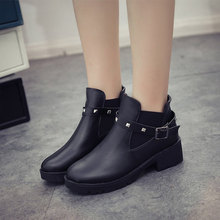Women Ankle Boots Rivet Autumn Chelsea Boots Ladies Buckle Strap Woman Comfort Thick Middle Heels Fashion Female Shoes Ladies(China)