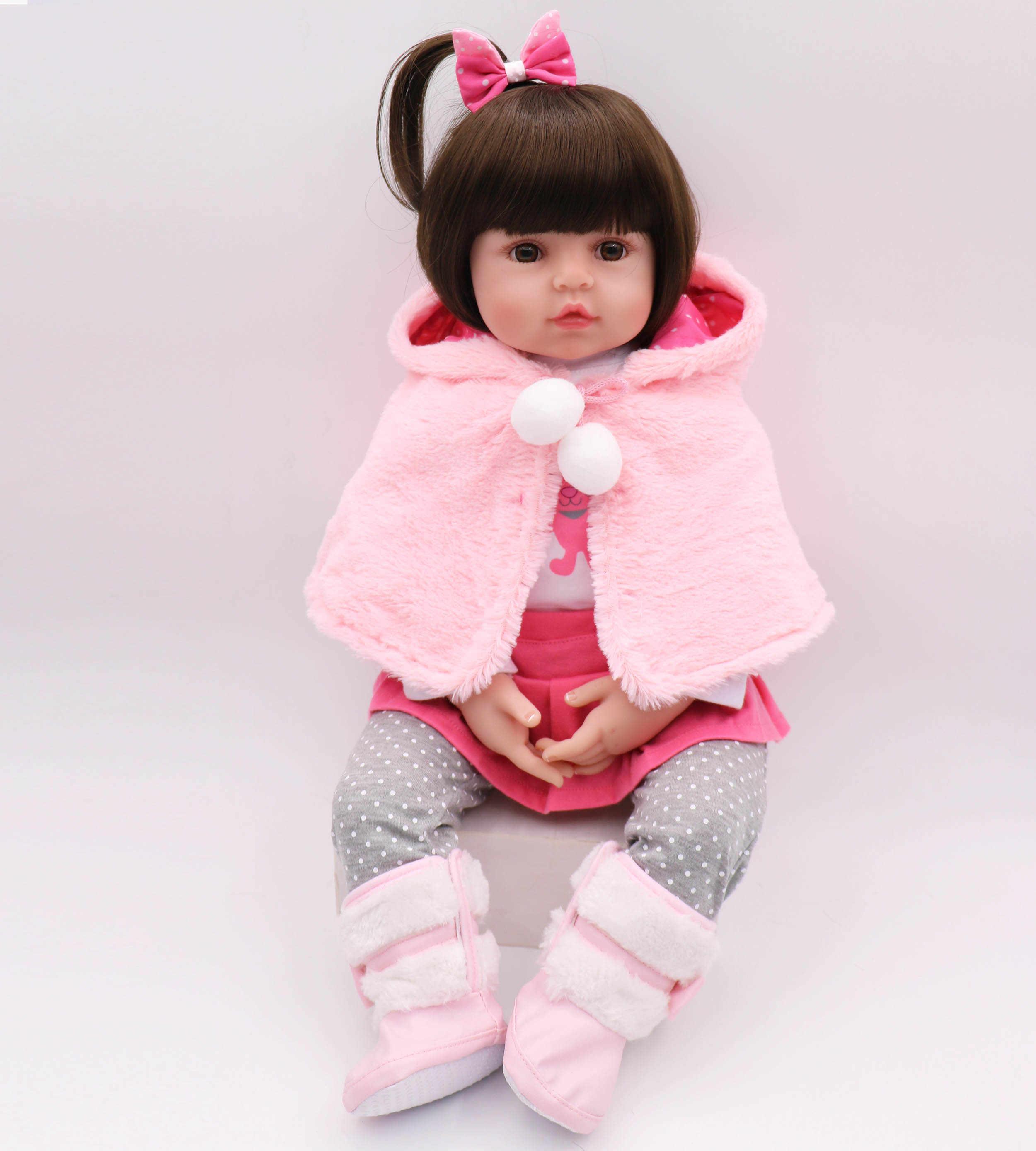 47cm coelho rosa boneca reborn bebe infantil meninas realista boneca reborn para dar às crianças o melhor presente de aniversário presente de Natal