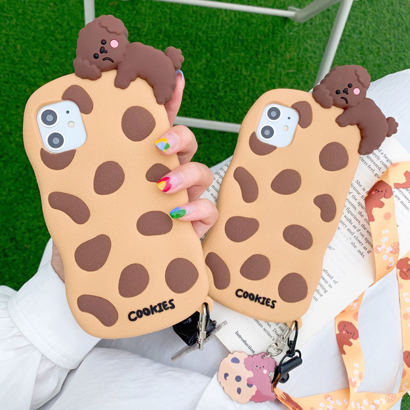 3D Cute Cartoon Teddy Dog Puppy Case For Iphone 12 Mini 11 Pro XS Max X XR Cookies Biscuit Soft Silicone Lanyard Rope Back Cover