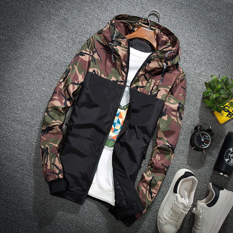 New Products MEN'S Jacket Korean-style Sportswear Trend Handsome Outer Wear Men'S Wear Teenager Large Size Spring Camouflage Coa
