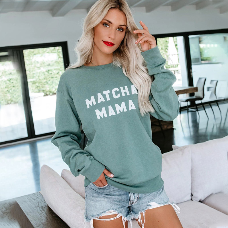 Sweatshirt Women Hoodie Oversize Pullover Kawaii Green Fleece Top Casual O Neck Female Streetwear Daily White Jumper LQ-LXW08