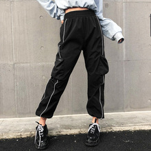 Women Loose Pants With Pockets Zipper Personality Jogger Mujer Sporting Elastic Waist Black Casual Streetwear Wz* grey casual drawstring waist zipper design pants with four pockets